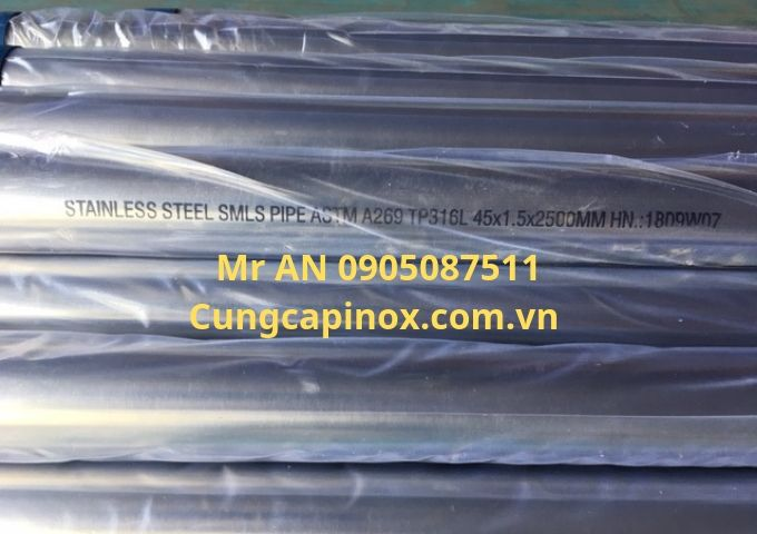 Supply of stainless steel pipe, seamless pipe type 316 L, OD 45 mm  x 1,5 x 6000, good Price